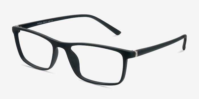 Sullivan Matte Black Plastic Eyeglass Frames from EyeBuyDirect, Angle View
