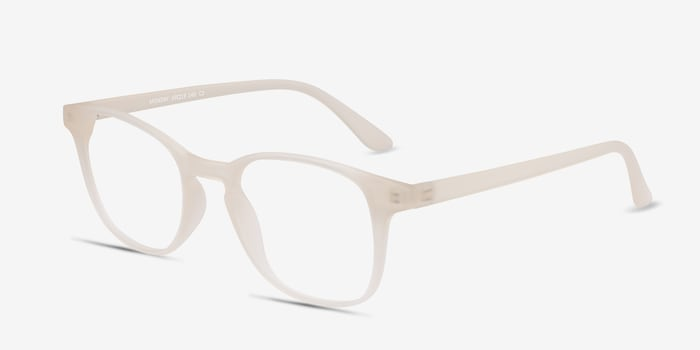 Monday Matte White Plastic Eyeglass Frames from EyeBuyDirect, Angle View