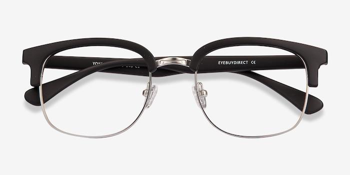 Yokote Matte Black Metal Eyeglass Frames from EyeBuyDirect, Closed View