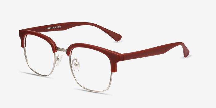 Yokote Matte Burgundy Metal Eyeglass Frames from EyeBuyDirect, Angle View