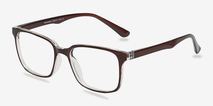 November Brown Clear  Plastic Eyeglass Frames from EyeBuyDirect, Angle View