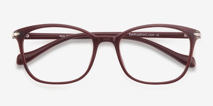 Nola Dark Red Plastic Eyeglass Frames from EyeBuyDirect, Closed View