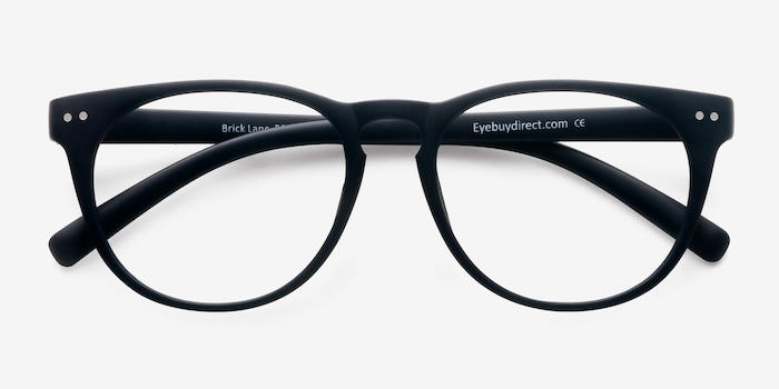 Brick Lane Matte Navy Plastic Eyeglass Frames from EyeBuyDirect, Closed View