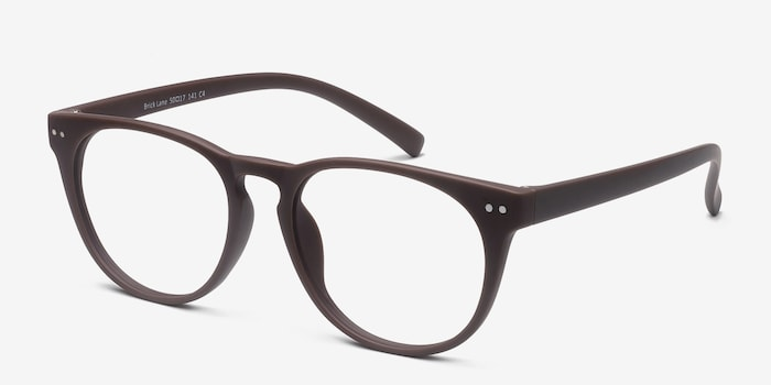 Brick Lane Matte Brown Plastic Eyeglass Frames from EyeBuyDirect, Angle View