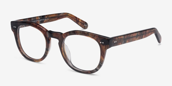 Eloquence Marbled Hazel Acetate Eyeglass Frames from EyeBuyDirect, Angle View