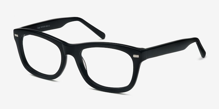 Cage  Black  Acetate Eyeglass Frames from EyeBuyDirect, Angle View
