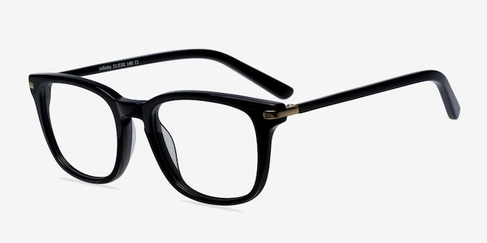 Infinity Black Acetate Eyeglass Frames from EyeBuyDirect, Angle View