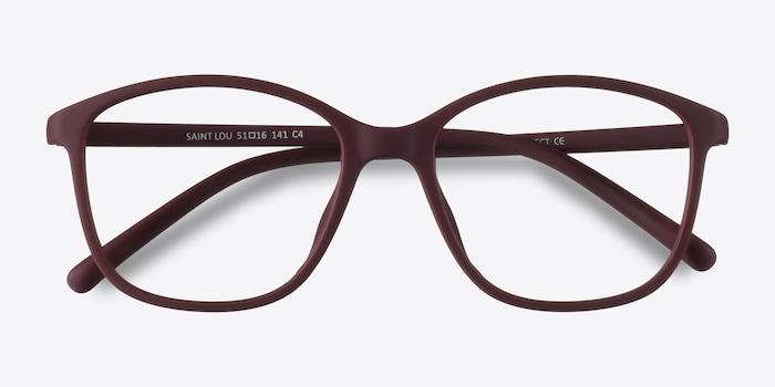 Saint Lou Burgundy Plastic Eyeglass Frames from EyeBuyDirect, Closed View