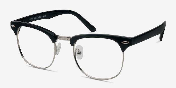 Little Coexist Black Metal Eyeglass Frames from EyeBuyDirect, Angle View