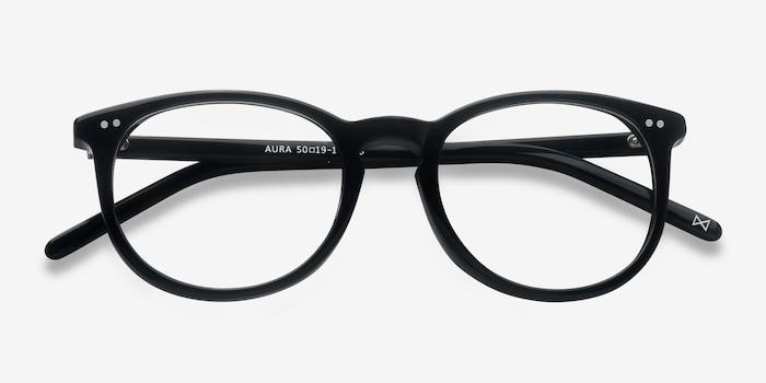 Aura Jet Black Acetate Eyeglass Frames from EyeBuyDirect, Closed View