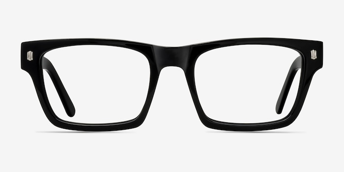 Mike Black Acetate Eyeglass Frames from EyeBuyDirect, Front View