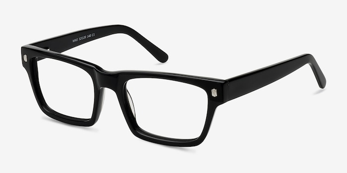 Mike Black Acetate Eyeglass Frames from EyeBuyDirect, Angle View