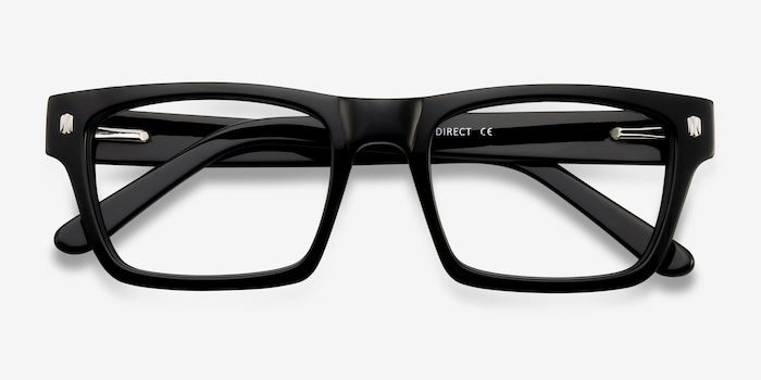 Mike Black Acetate Eyeglass Frames from EyeBuyDirect, Closed View