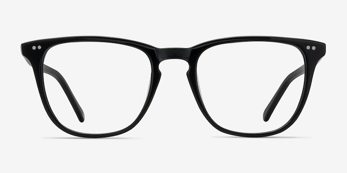 Exposure Jet Black Acétate Montures de Lunettes d'EyeBuyDirect, Vue de Face