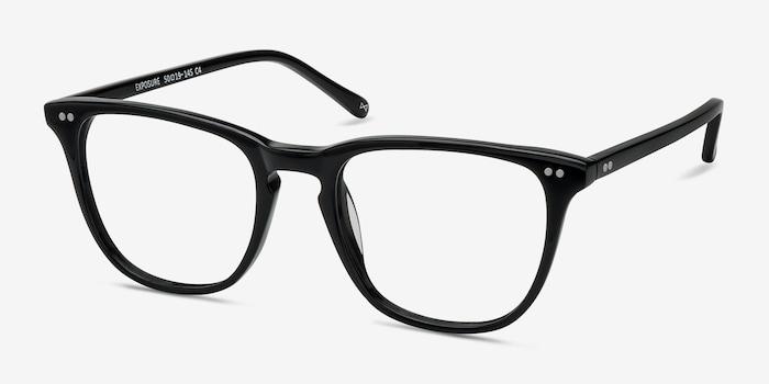 Exposure Jet Black Acétate Montures de Lunettes d'EyeBuyDirect, Vue d'Angle