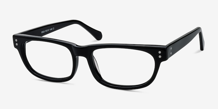 Oslo Black Acetate Eyeglass Frames from EyeBuyDirect, Angle View
