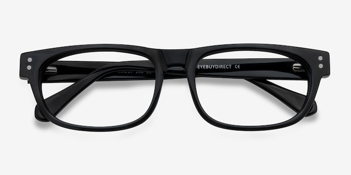 Oslo Black Acetate Eyeglass Frames from EyeBuyDirect, Closed View
