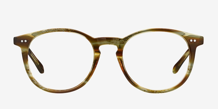 Prism Striped Caramel Acetate Eyeglass Frames from EyeBuyDirect, Front View