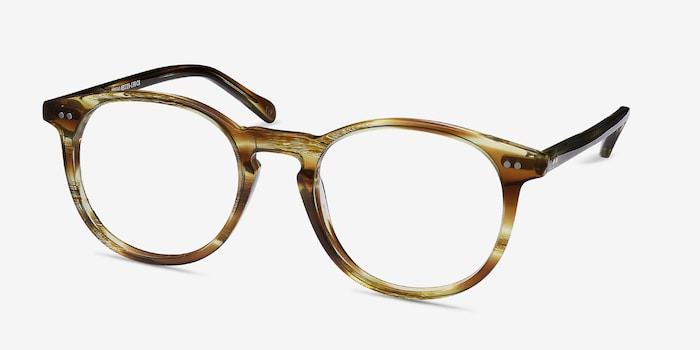 Prism Striped Caramel Acetate Eyeglass Frames from EyeBuyDirect, Angle View