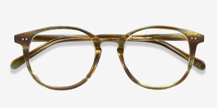 Prism Striped Caramel Acetate Eyeglass Frames from EyeBuyDirect, Closed View