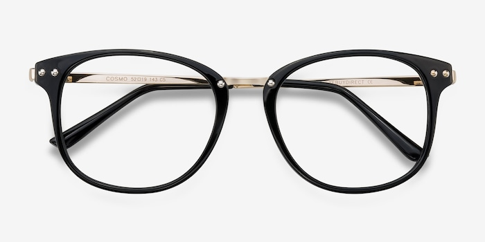 Cosmo Black Metal Eyeglass Frames from EyeBuyDirect, Closed View