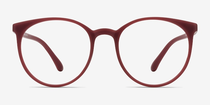 Portrait Matte Red Plastic Eyeglass Frames from EyeBuyDirect, Front View