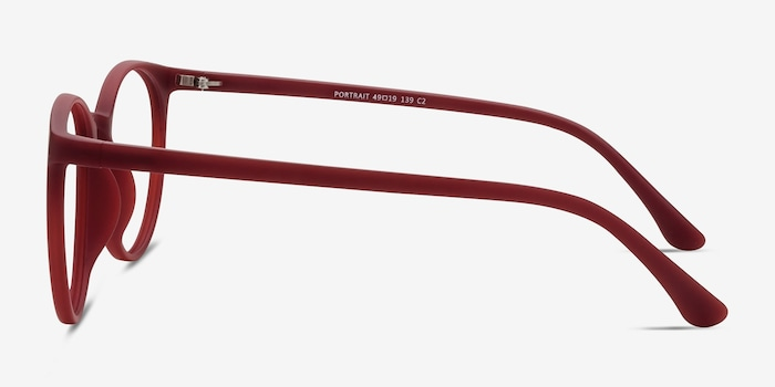 Portrait Matte Red Plastic Eyeglass Frames from EyeBuyDirect, Side View