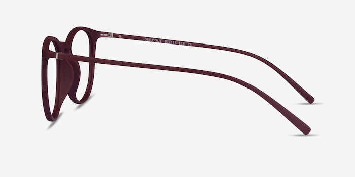 Dialogue Aubergine Plastic Eyeglass Frames from EyeBuyDirect, Side View