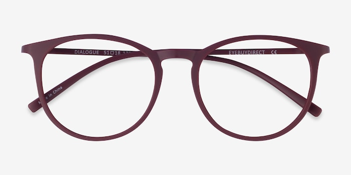 Dialogue Aubergine Plastic Eyeglass Frames from EyeBuyDirect, Closed View