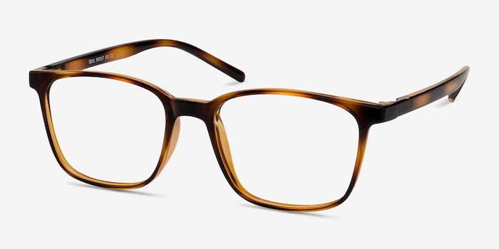 Soul Black Brown Plastic Eyeglass Frames from EyeBuyDirect, Angle View