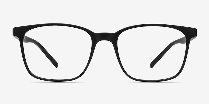Soul Black Plastic Eyeglass Frames from EyeBuyDirect, Front View