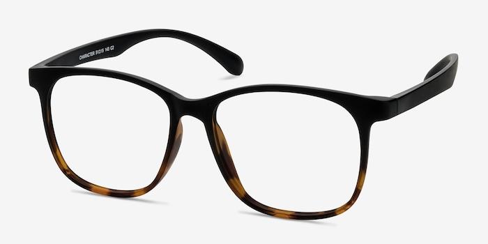 Character Black Tortoise Plastic Eyeglass Frames from EyeBuyDirect, Angle View