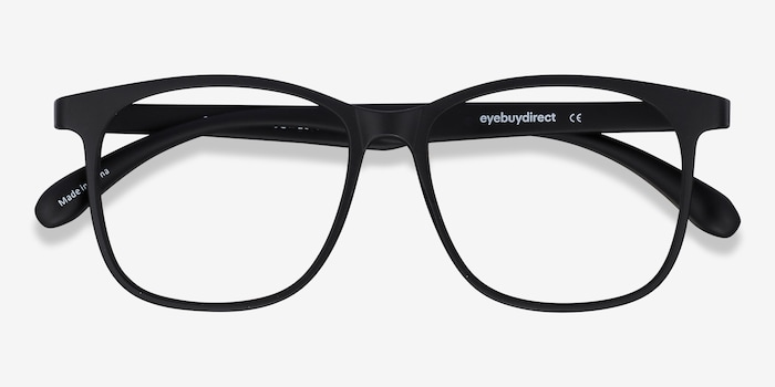 Character Matte Black Plastic Eyeglass Frames from EyeBuyDirect, Closed View