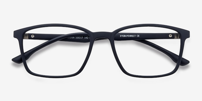 Northern Matte Navy Plastic Eyeglass Frames from EyeBuyDirect, Closed View