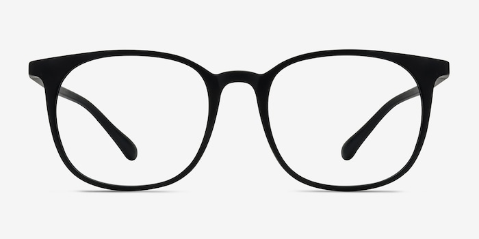 Cheer Matte Black Plastic Eyeglass Frames from EyeBuyDirect, Front View
