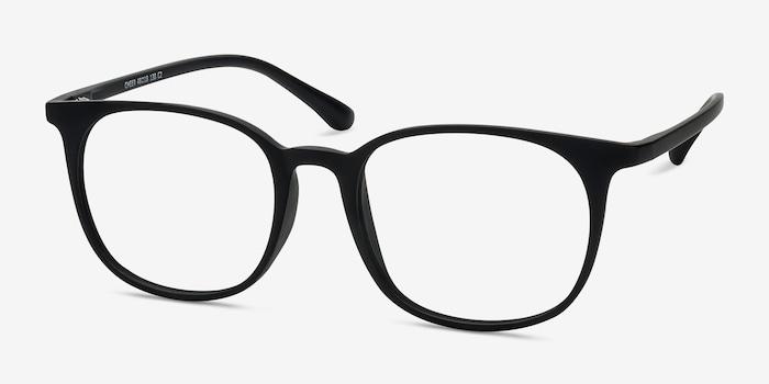 Cheer Matte Black Plastic Eyeglass Frames from EyeBuyDirect, Angle View
