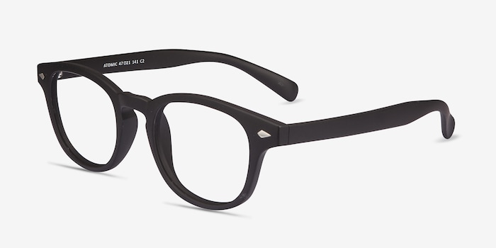 Atomic Matte Black Plastic Eyeglass Frames from EyeBuyDirect, Angle View