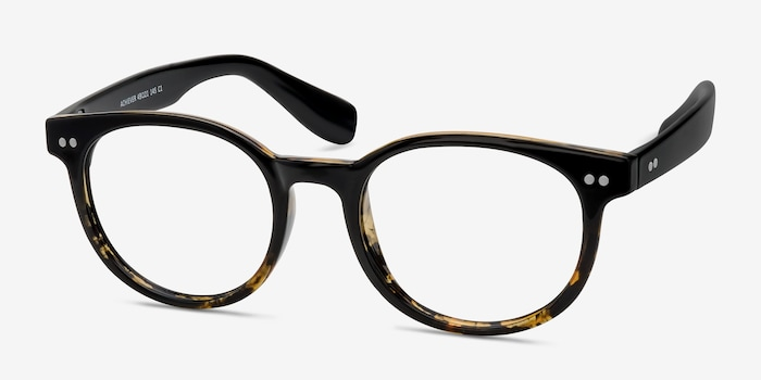Achiever Brown Floral Plastic Eyeglass Frames from EyeBuyDirect, Angle View