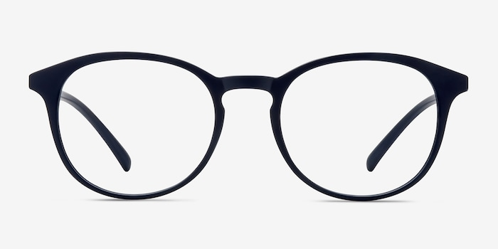 Brace Matte Navy Plastic Eyeglass Frames from EyeBuyDirect, Front View