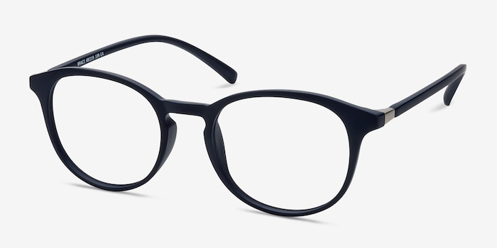 Brace Matte Navy Plastic Eyeglass Frames from EyeBuyDirect, Angle View