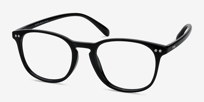 Record Black Plastic Eyeglass Frames from EyeBuyDirect, Angle View