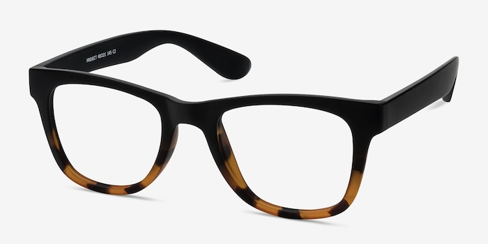 Project Black Tortoise Plastic Eyeglass Frames from EyeBuyDirect, Angle View