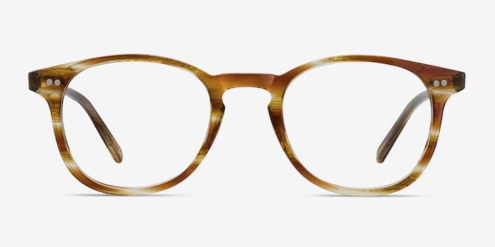 Striped Caramel Symmetry -  Vintage Acetate Eyeglasses