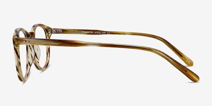 Symmetry Striped Caramel Acetate Eyeglass Frames from EyeBuyDirect, Side View