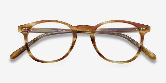 Symmetry Striped Caramel Acetate Eyeglass Frames from EyeBuyDirect, Closed View