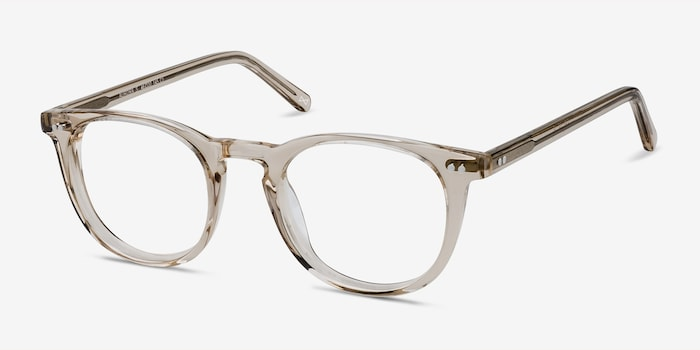 Aurora Champagne Acetate Eyeglass Frames from EyeBuyDirect, Angle View