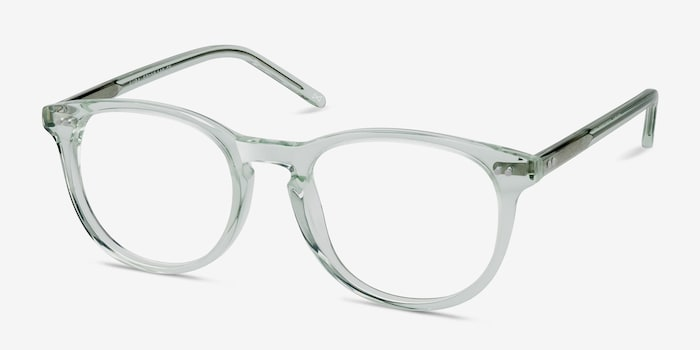 Aura Clear Jade Acetate Eyeglass Frames from EyeBuyDirect, Angle View