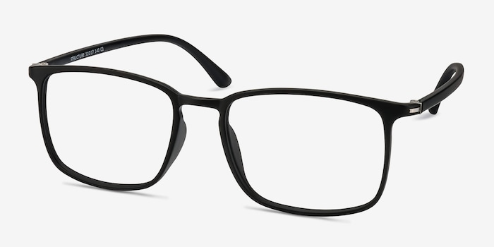 Structure Black Plastic Eyeglass Frames from EyeBuyDirect, Angle View