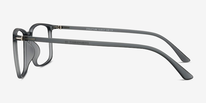Structure Clear Gray Plastic Eyeglass Frames from EyeBuyDirect, Side View