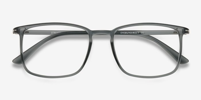 Structure Clear Gray Plastic Eyeglass Frames from EyeBuyDirect, Closed View